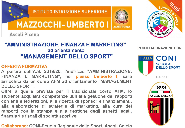 "Corso in Management dello sport: Partnership fra ""IIS Mazzocchi-Umberto I"" – ASA Ascoli"
